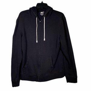 American Rag Black Zip Up Sweater Hoodie L